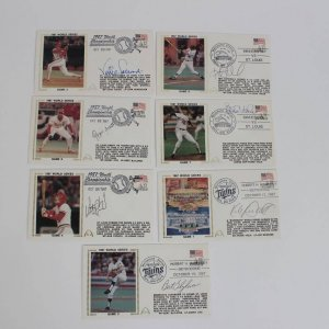 (7) 1987 World Series Cardinals vs. Twins Lot of Baseball First Day Covers (FDC)  Cachets Feat. Kirby Puckett, Frank Viola, Ozzie Smith, Bert Blyleven etc.