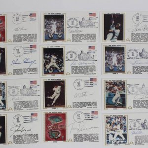 1981 WS- Yankees vs. Dodgers Signed First Day Covers Cachets (FDC) (12) (JSA)
