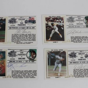 1989 WS - A's vs. Giants Signed First Day Cover Cachets (FDC) Lot (4) (JSA)