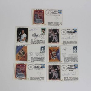 1989 AS Game Signed Baseball Stars First Day Covers Cachets (FDC) (7) (JSA)