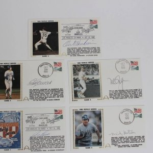 1988 WS - Dodgers vs. A's Signed Baseball First Day Covers Cachets (5) - JSA