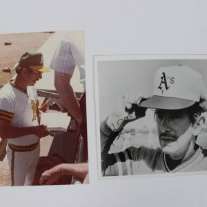 Pair of Oakland A's - Billy Martin Signed 8x10 Photos