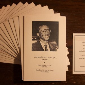 A Lot of 16 Arthur Ashe Funeral Programs, Including 1 Personal Invitation.  February 12, 1993 - Cathedral of St. John the Divine - NYC.