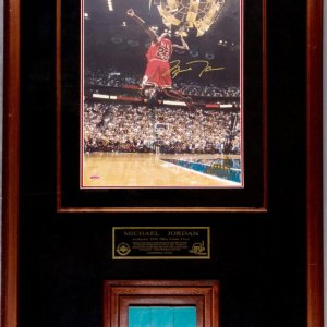 Chicago Bulls Icon - Michael Jordan Signed 16X20 Photo with Final Floor Piece LE 23/123 Shadowbox Display (UDA Hologram & JSA Full Letter)&)