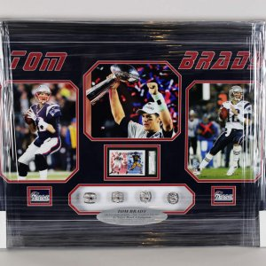 New England Patriots Tom Brady 4x Super Bowl Champion 22x33 Ring Display