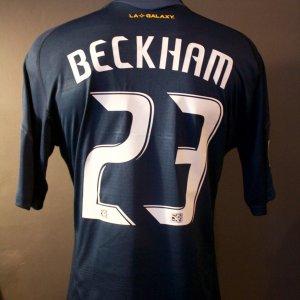 A David Beckham Game-Used #23 LA Galaxy Away Shirt.  2009 MLS Season.