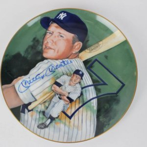 Mickey Mantle Signed Plate