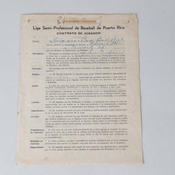 1938 Liga Semi Professional De Baseball De Puerto Rico - Ed Stone Contract