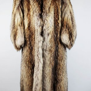 "FInland Raccoon Coat Notch Collar Straight Sleeve 54"" Length"