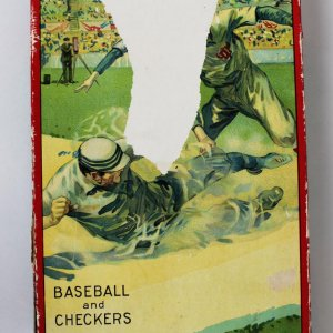 Circa 1915 Baseball and Checkers Two Game Combination Board Game Milton Bradley