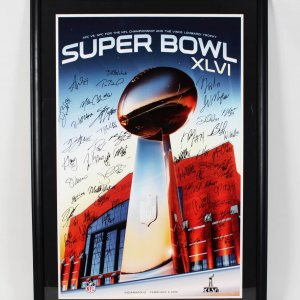 2011 New England Patriots - SB XLVI 28x41 Poster Display -38 Sigs.- Tom Brady etc. - COA