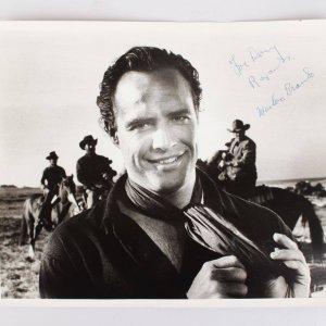 Marlon Brando Signed  & Inscribed Vintage B&W  Photo From One-Eyed Jacks