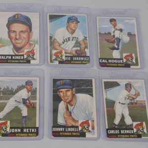 1953 Topps Baseball Lot of Six Pittsburgh Pirates Cards - Incl. Ralph Kiner, Vic Janowicz, Cal Hogue etc.