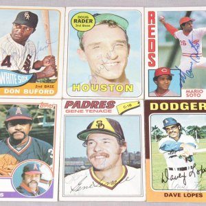 Six Signed Baseball Card Lot - Doug Rader, Don Buford, Luis Tiant, Gene Tenace, Dave Lopes and Mario Soto