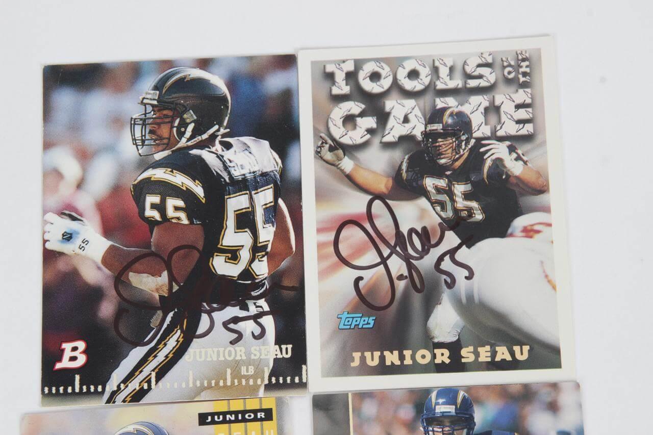 best loved 5ec74 b5ba6 Junior Seau Signed Football Card Lot (5) Chargers – COA | Memorabilia Expert