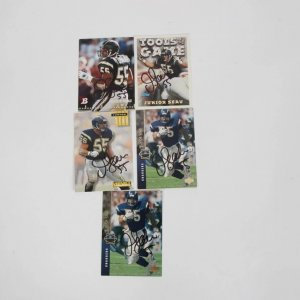 San Diego Chargers - Junior Seau Signed Football (5) Card Lot