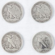 Four 1940s Walking Liberty Head Half Dollars (50 Cent Pieces)