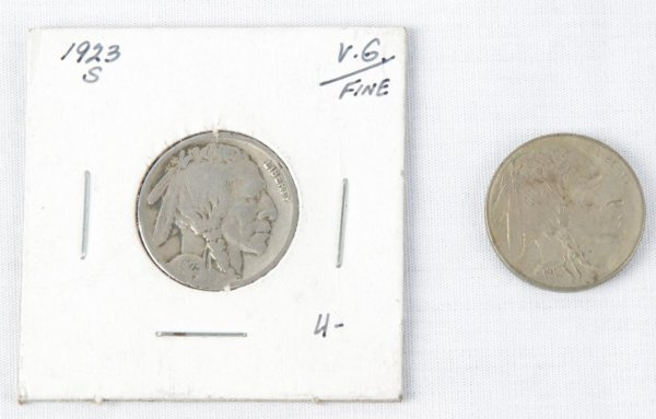 Pair of Buffalo Nickels - 5 Cents Coin - 1913 (Uncirculated) & 1923 (S)