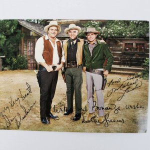 Bonanza TV Show Postcard with Michael Landon Signed & Inscribed Best Wishes (Little Joe )