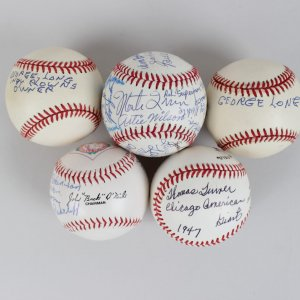 "5 Negro Leagues Multi-Signed Balls,Raymond Dandridge, ""Double Duty"" Radcliffe, etc.- JSA"