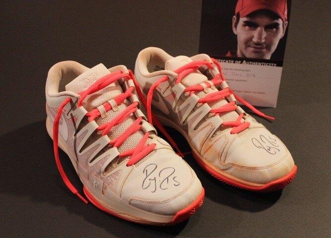 a1b2c5b2e1a16 A Pair of Roger Federer Game-Used   Signed Custom Nike Tennis Shoes. 2014  French Open.