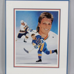 St. Louis Blues Brett Hull Signed Joachim Thiess 18x24 Litho LE 128/999 - COA