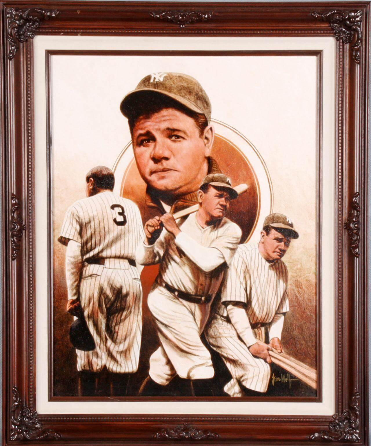 Babe Ruth Canvas Giclee Display by Leon Wolf
