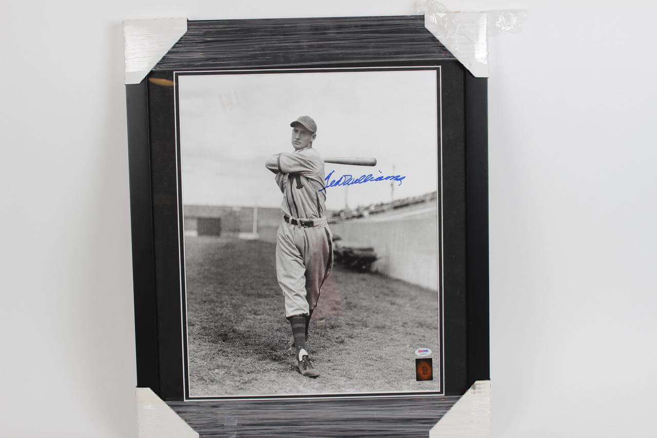 Vintage Minor League Padres Ted Williams Signed 16x20 Display - COA PSA/DNA