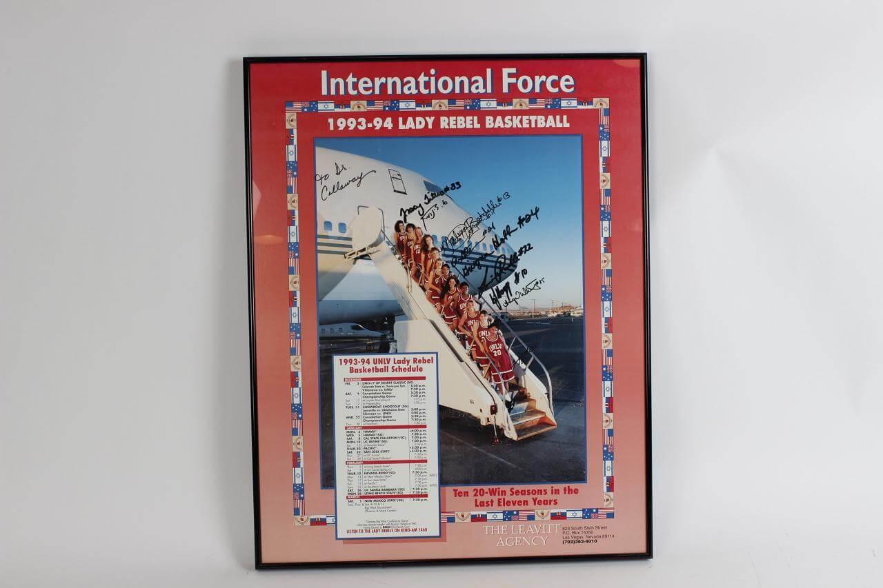 1993-94 UNLV Lady Rebels Team-Signed Poster Display - COA