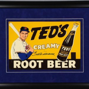 Red Sox- Ted Williams Signed Ted's Creamy Root Beer Tin Display- COA