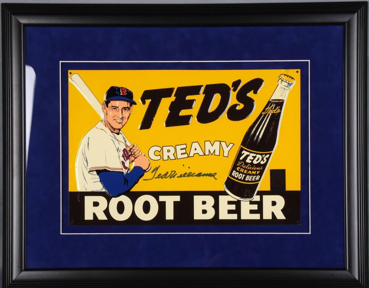 Ted Williams Signed Root Beer Tin Display Red Sox - COA