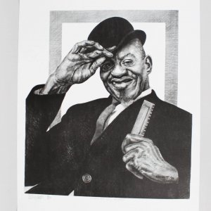 Sonny Boy Williamson Charcoal Artwork by Pittsburgh Artist George Gist From Original Teenie Harris Photo LE 4/500