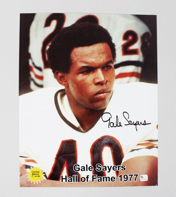 Bears Gale Sayers Signed 11x14 Color Photo Hall of Fame 1977 LE 5 out of 40