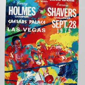 "Signed & Inscribed Leroy Neiman "" Keep Punching Holmes vs Shavers 17 x Poster 28"