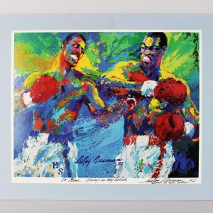 Championship Match - Holmes vs. Spinks Signed & Inscribed by Leroy Neiman- JSA