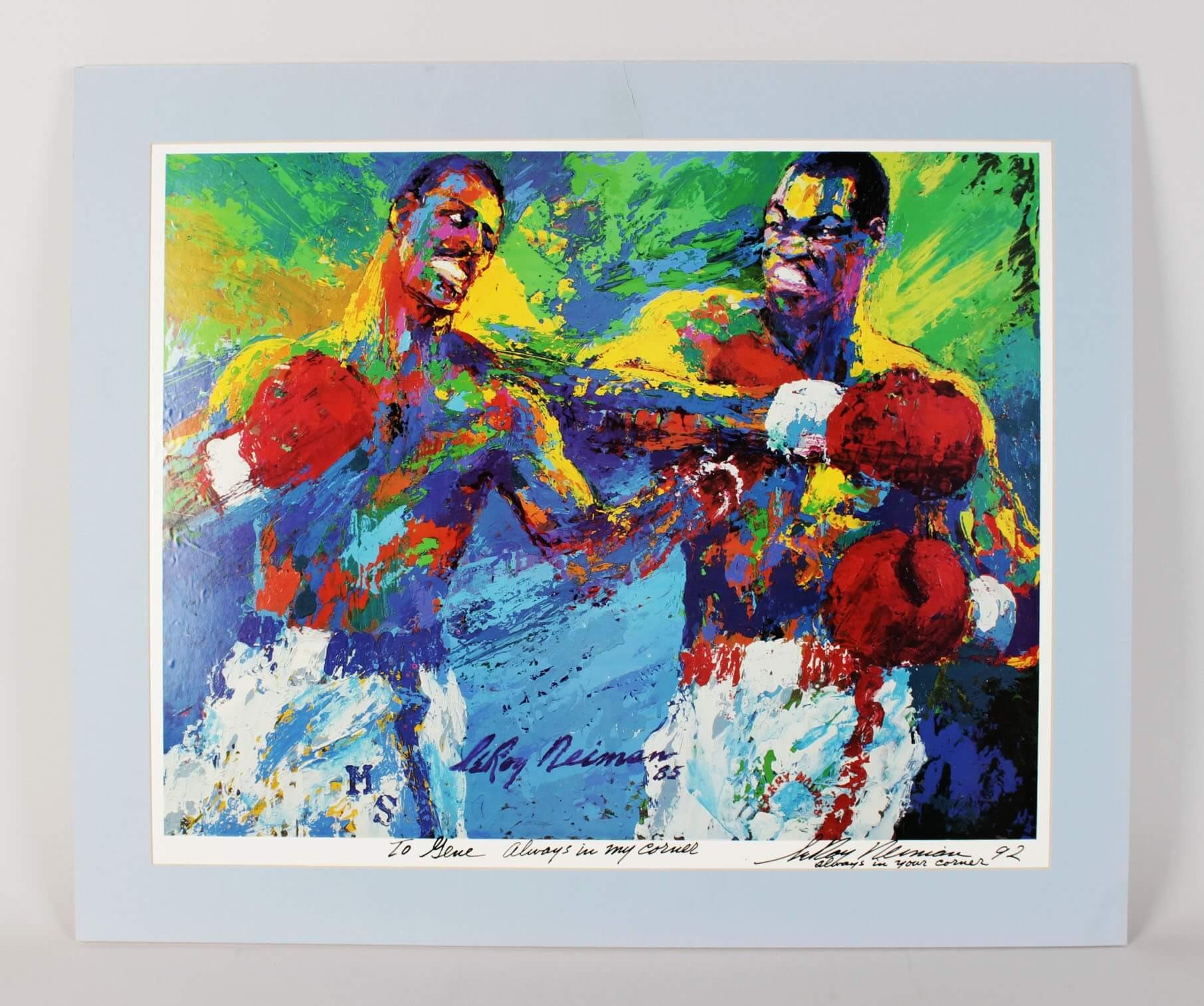 LeRoy Neiman Signed Poster Holmes vs. Spinks - COA JSA