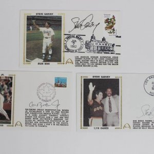 Lot of 3 Baseball Signed First Day Covers (FDC) Cachets Baltimore Orioles Cal Ripken Jr. & (2) Dodgers Padres Steve Garvey