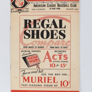 April 20, 1939 Boston Red Sox - Ted Williams Rookie Season Major League Debut Red Sox (First Hit) vs. Yankees Program Score Card