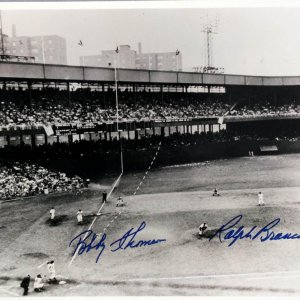 """The Shot Heard Round The World"""" Autographed 14x11 Vintage B&W Photograph Giants Dodgers"""