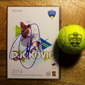 A Novak Djokovic Game-Used & Signed Official Match Ball.  2015 ATP Western & Southern Open.  Includes a Signed Official Tournament Postcard.