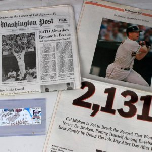 2 Piece Baltimore Orioles - Cal Ripken Jr Set with Newspaper & Game Ticket