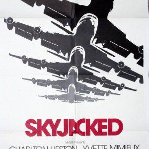 "Sky-Jacked 27x41"" Original Movie Poster Charlton Heston Yvette Mimieux James Brolin Jeanne Craw"