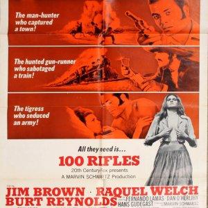 100 Rifles 1969 sheet Movie Poster Starring Jim Brown Jaquel Welch Burt Reynolds