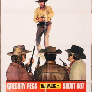 """Gregory Peck 1971 Movie Sheet Poster """"Shoot Out"""" Universal Pictures"""