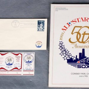 1983 AS Program,Full AS Ticket & Game Babe Ruth Postmarked Envelope - COA