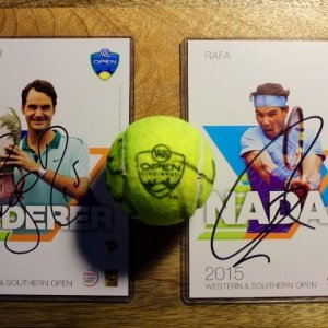 A Signed Roger Federer & Rafael Nadal Game-Used Match Ball.  2015 ATP Western & Southern Open.  Includes Official Tournament Postcards Signed by Each Athlete.