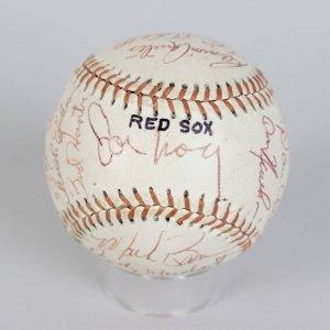 1975 Pawtucket Red Sox Team-Signed Baseball 18 Sigs. Incl. Tony Conigliaro, Lance Clemons, Rick Kreuger, Joe Morgan etc.
