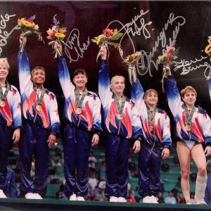 1996 Women's Olympic Gymnastics Team Signed by MOCEANU & 5 Others (PSA)