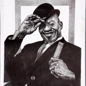 Sonny Boy Williamson Charcoal Artwork by Pittsburgh Artist George Gist From The Original Teenie Harris Photo LE 1/500