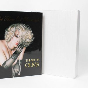 Bettie Page Autographed Book-The Art of Olivia Signed Autographed Let them Eat Cheesecake Art Pinup Book-COA Book Signing